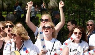 Volunteers cheering on Legion fundraisers